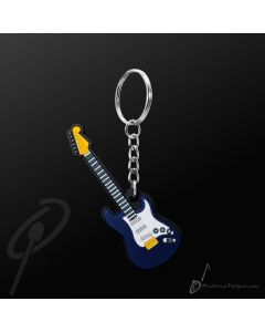 Key Chain Electric Guitar Blue