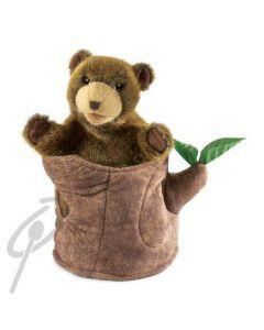 Folkmanis Bear In Tree Stump Puppet