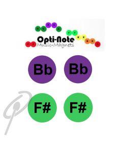 Opti-Note Music Magnets F#/Bb Pk8 60mm