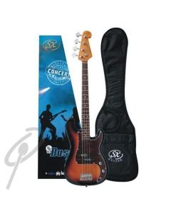 SX Vintage Style Bass Guitar 4/4 Sunburst